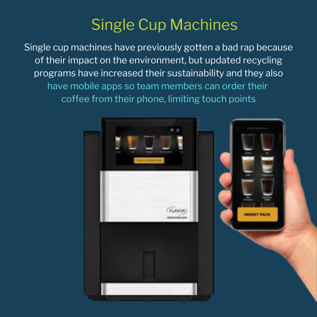 Single Cup Options like the Flavia C600 offer safe ways to provide office coffee to team members as they return to the office.